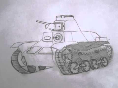 طريقة رسم الدبابة بالجنزير