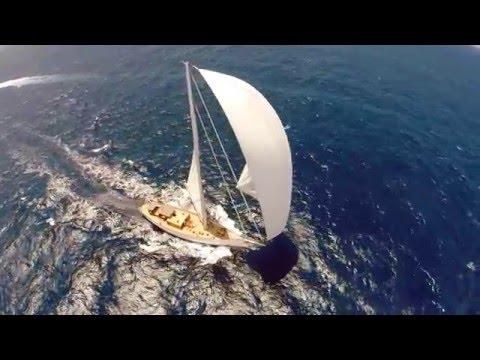 Drone footage of sailing boat Emmaline Racing