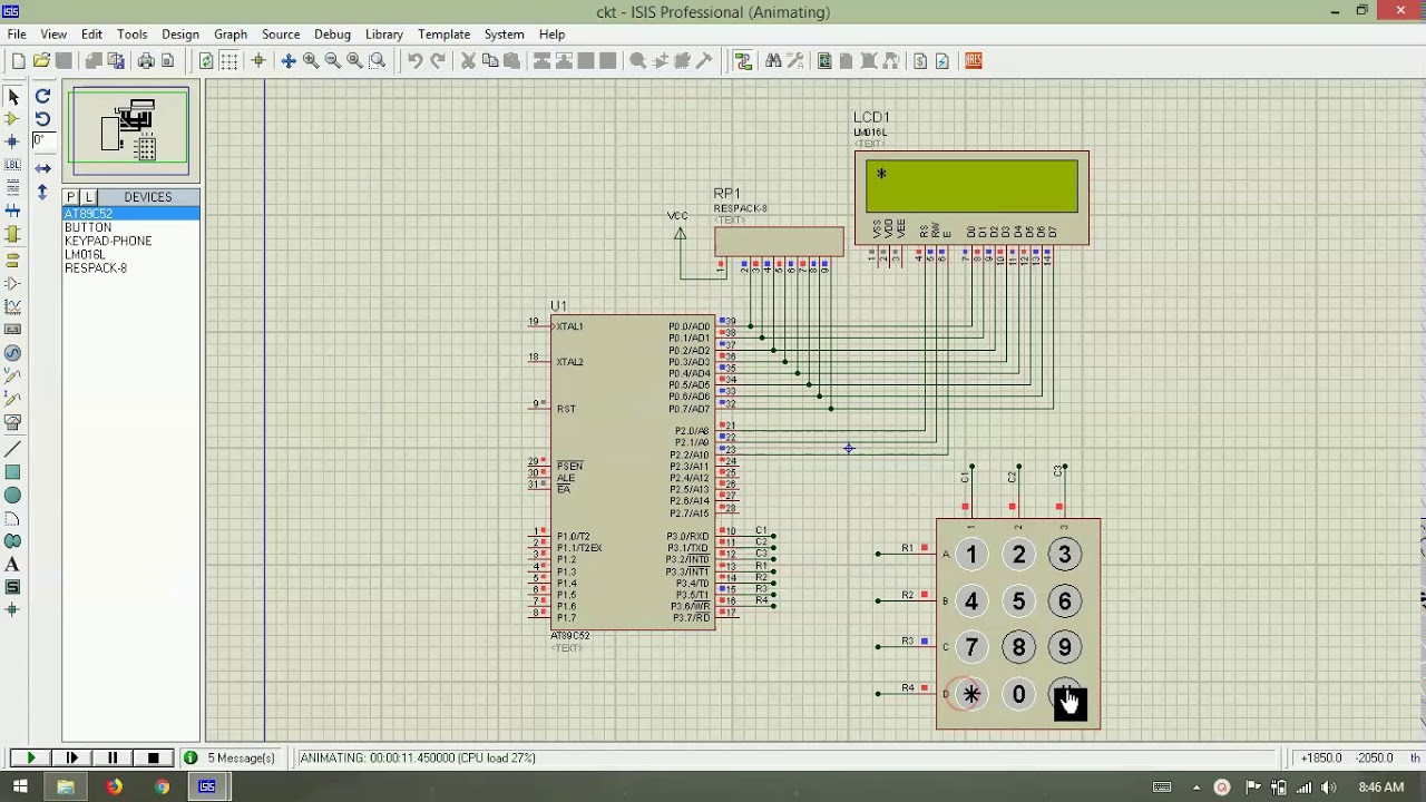 Reading values from 3x4 keypad and displaying on 16x2 LCD