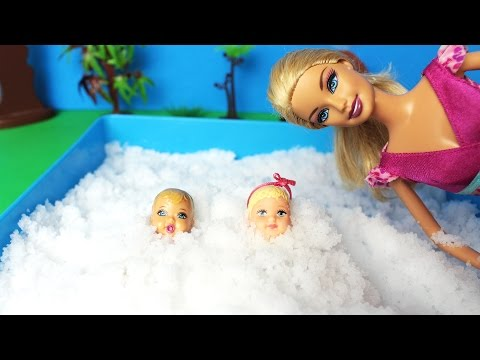Barbie buries Babies in snow! Fun New Barbie Girl Videos in English for Children - ToyVideosRUS