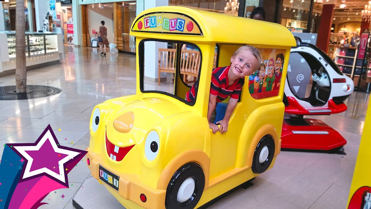 playing and riding a fun bus race car flying helicopter in a mall vlog video for kids children. Black Bedroom Furniture Sets. Home Design Ideas