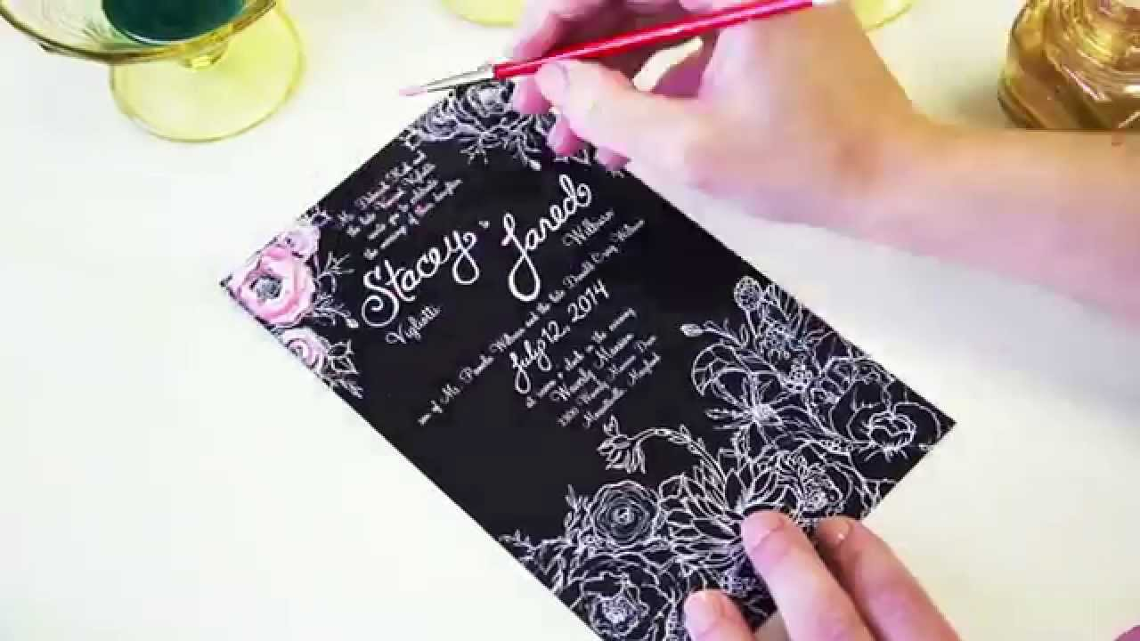 Chalkboard Flower Hand Painted Wedding Invitation Youtube