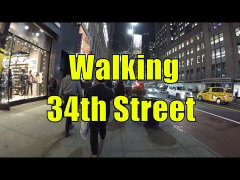 ⁴ᴷ Walking Tour of Manhattan, NYC - 34th Street from the Hudson River to the East River