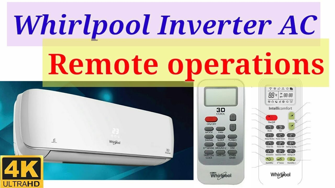 whirlpool ac remote functions basic operations control manual rh youtube com whirlpool 6th sense air conditioner remote control manual whirlpool sixth sense air conditioner manual