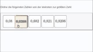 Vergleichen von Dezimalzahlen: Sortierung von der kleinsten zur größten Zahl