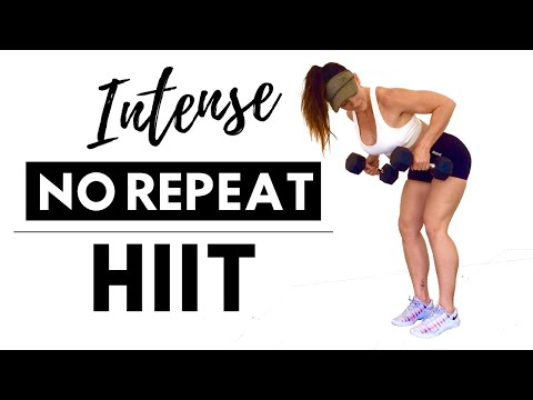 INTENSE FAT BURNING HIIT WITH WEIGHTS - 30 Minute Total Body No Repeat Workout