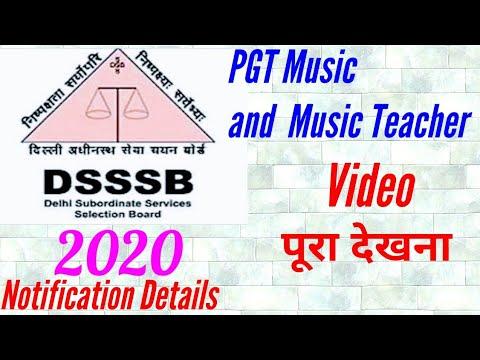DSSSB PGT Music and Music Teacher Notification 4/01/2020