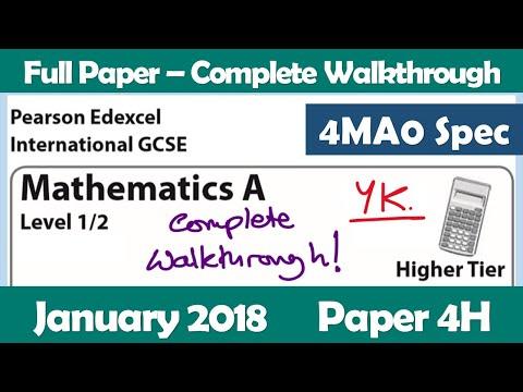 Edexcel IGCSE Maths A | January 2018 Paper 4H | Complete Walkthrough