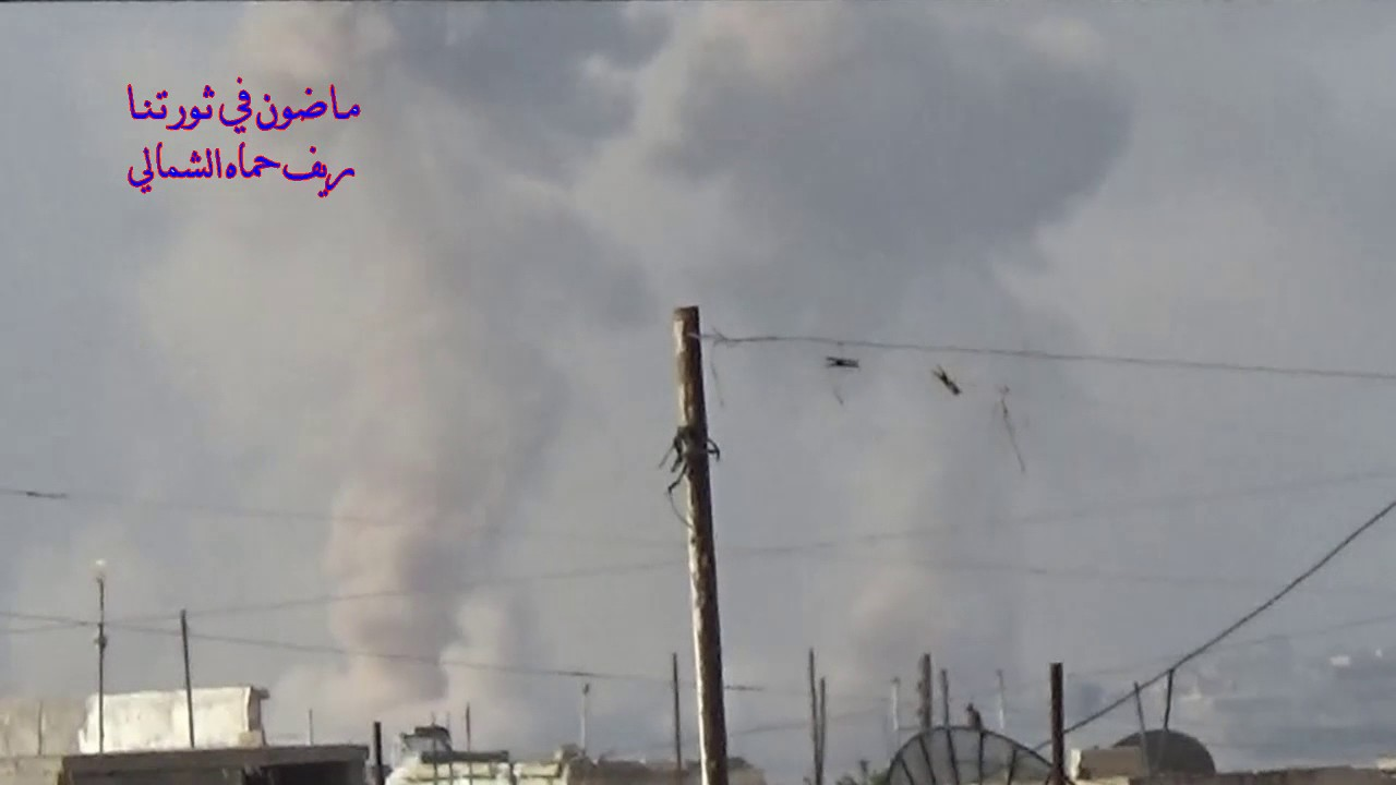 Warplanes bomb the city of Halfaya in the northern countryside of Hama