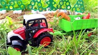Мультик про трактор. Трактор везет животных на ферму. Видео для детей