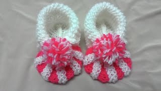 How to knit baby booties tutorial.Пинетки зефирки.