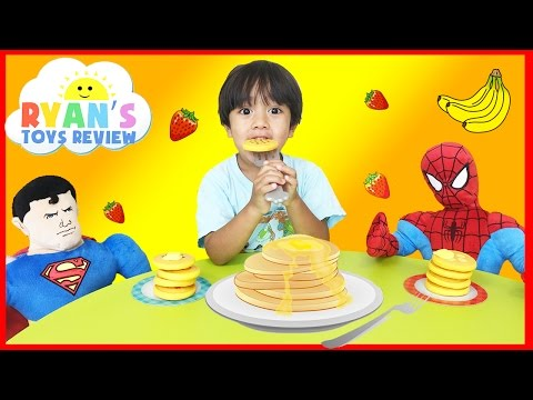 Family Fun Game Pancake Pile Up Spiderman Superman Egg Surprise Toys Kids Video Ryan ToysReview