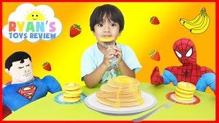family fun game pancake pile up spiderman superman egg surprise toys kids video ryan toysreview