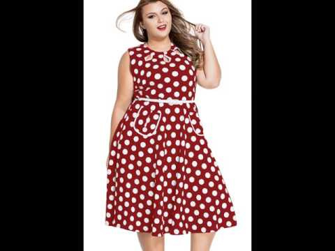Платье в горошек для полных женщин