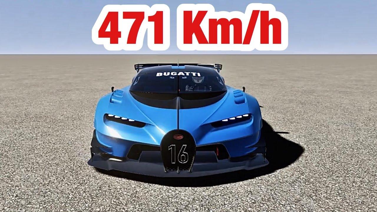 bugatti vision gran turismo - top speed 471 km/h - youtube