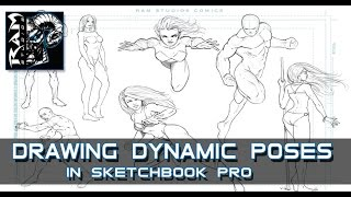 Drawing Dynamic Comic Book Poses -  Sketchbook Pro 7 - Narrated