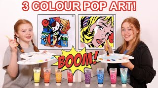 3 COLOR PAINT POP ART CHALLENGE *DIY GIANT MODERN ART WALL CANVAS | Sis Vs Sis | Ruby and Raylee