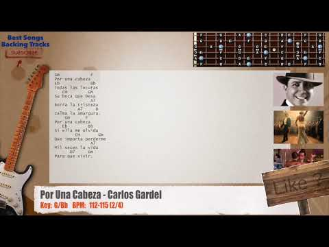 Por Una Cabeza (Tango) - Carlos Gardel CHORDS Guitar Backing Track with chords and lyrics
