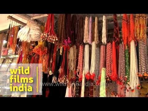 Colourful sarees and bangles for sale at local market of Varanasi