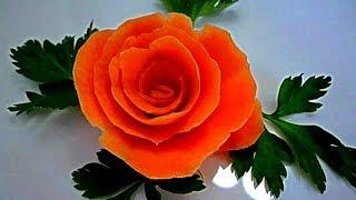 Роза из моркови! Украшения из моркови. Цветы из моркови. Decoration of carrots. Flowers of carrots