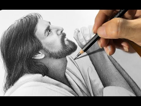 Drawing Jesus with pencil 2B , 8B & Cotton - DP Truong