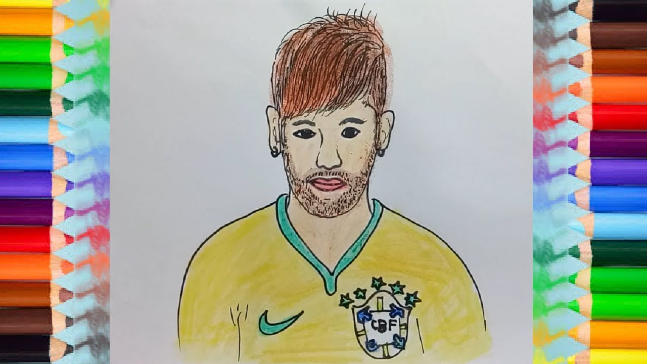 How to draw neymar footballers step by step