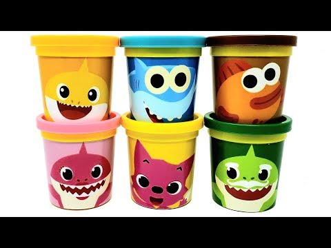 Play-Doh Pinkfong Baby Shark Can Heads & Toys Mommy Shark Granpa Shark Fish Learn Colors