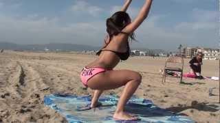 Sexy Girls! Bikini Butt, Abs Beach Workout. v9