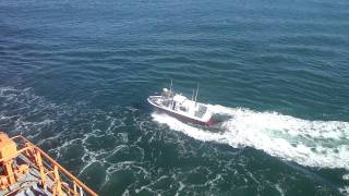 Turbocharged pilot boat having trouble keeping up with 55.000 DWT Tanker.