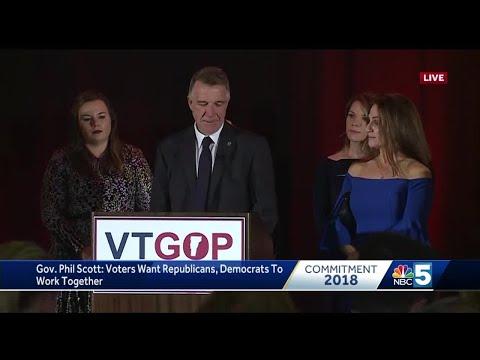Vermont Gov. Phil Scott speaks after winning re-election