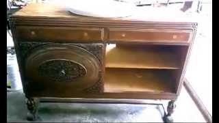 Process Of Installing Sink Into Antique Sideboard