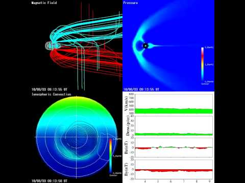 2010 Aug 03 Simulation of Magnetosphere and CME shock / geomagnetic storm