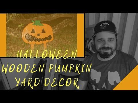 DIY Project Carving Halloween Wooden Pumpkin Yard Decoration