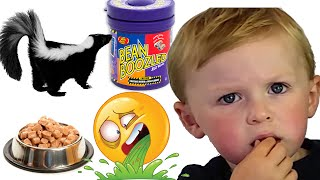 3 Year Old Eats Barf, Skunk and Dog Food! Bean Boozled Challenge Jelly Belly