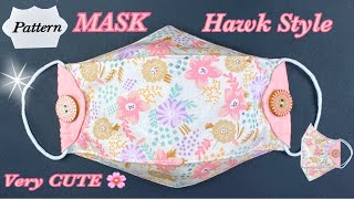 DIY Breathable Face Mask Hawk Style Easy Sewing Easy Pattern NO FOG ON GLASSES VERY CUTE