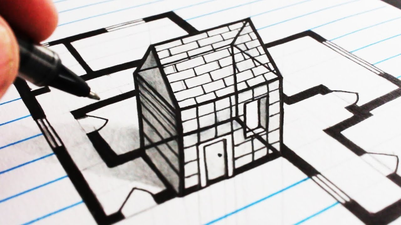 How to draw trick art 3d house drawing plan