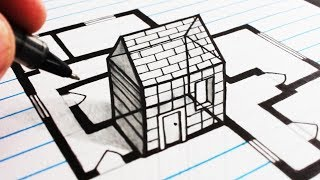 How to Draw 3D Anamorphic Trick Art of a House on Line Paper