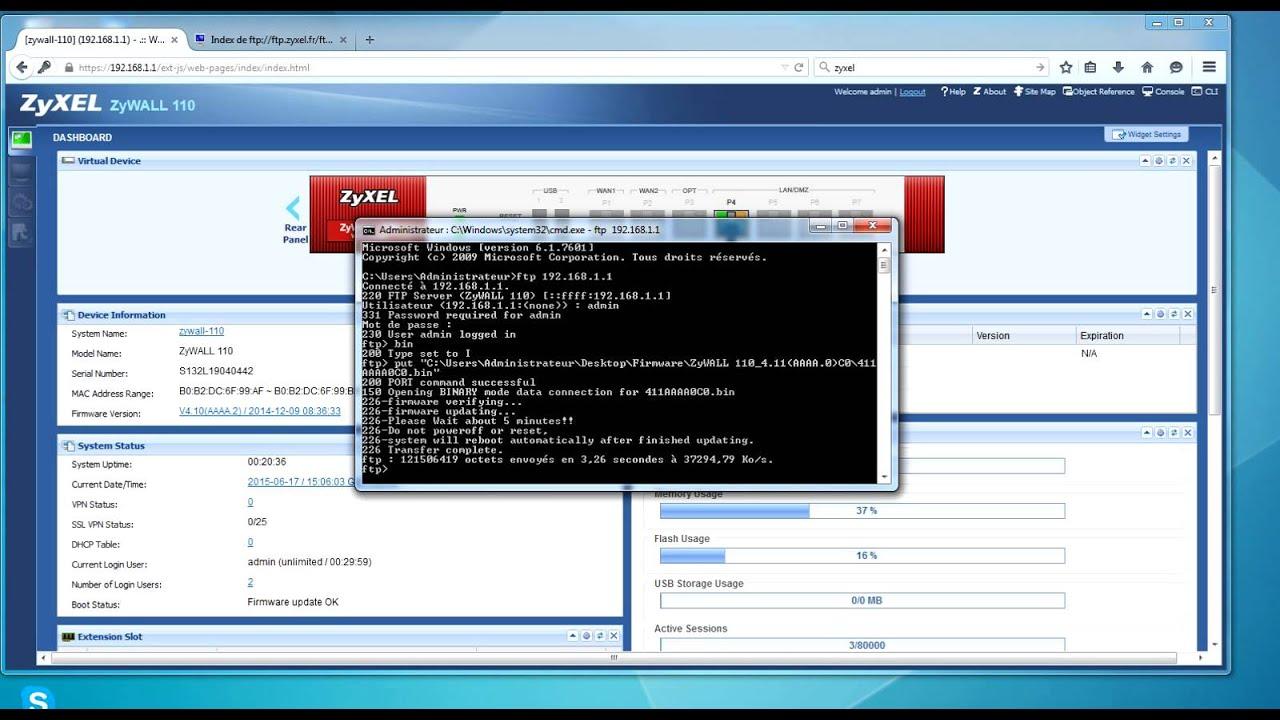Zyxel : Zywall Usg firmware update ftp