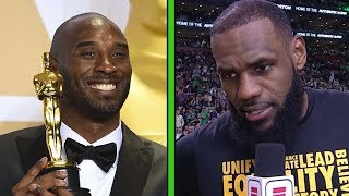 """LeBron James & Shaq React to Kobe Bryant Winning an Oscar & His """"Shut Up and Dribble"""" Comment"""