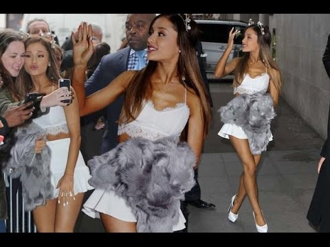 Ariana Grande looks angelic ahead of Victorias Secret Fashion Show performance in white mini-skirt