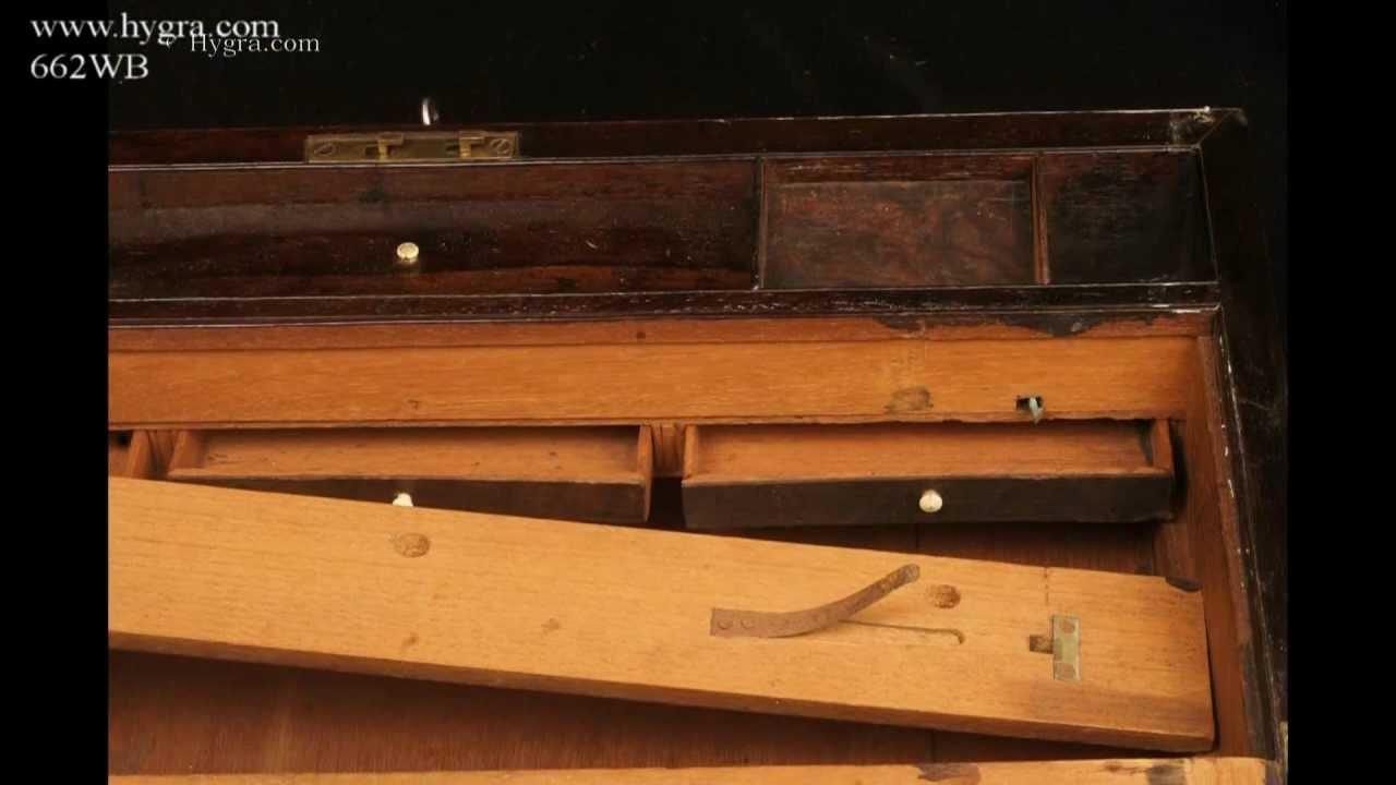 Antique Regency Writing Box/ Lap Desk in figured Rosewood circa 1815 - Antique Regency Writing Box/ Lap Desk In Figured Rosewood Circa