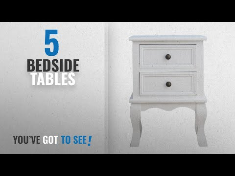 Top 10 Bedside Tables [2018]: CherryTree Furniture Wood White Bedside Table 2-Drawers Cabinet