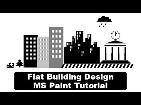 How to create flat building design in ms paint - MS Paint Tutorial