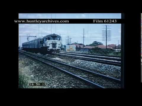 Rural railway train in 1960's Australia.  Archive film 61243