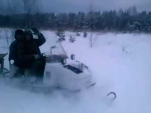 Снегоход Буран. Ехали с охоты на зайца