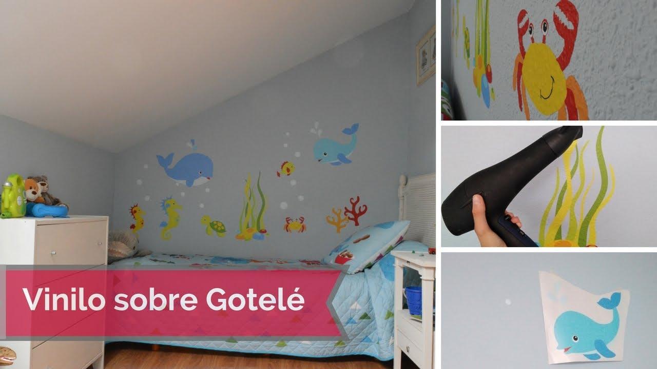 Como colocar un vinilo sobre gotel youtube for Vinilos pared gotele