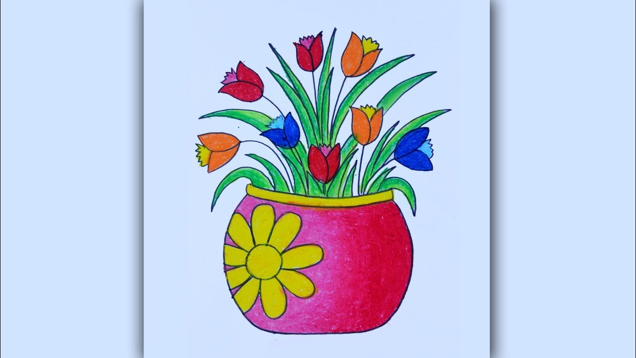 How To Draw Vase With Flowers Flower Vase Drawing Step By Step Youtube