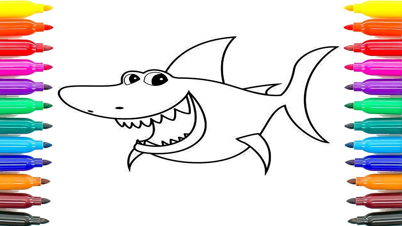 How to draw Shark Coloring Pages for Kids How to Paint Shark Funny ...