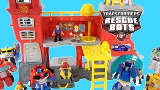 TRANSFORMERS RESCUE BOTS NEW GRIFFIN ROCK FIRE STATION OPTIMUS BUMBLEBEE CHASE HEATWAVE CODY