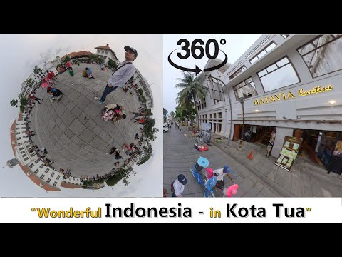 Walking down street - Old City (Kota Tua) Jakarta - 360 Video 4K Quality